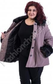 Прелестно макси палто в два цвята с еко косъм за акцент