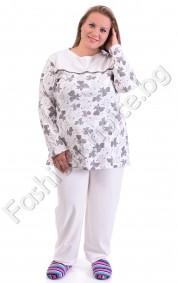 Удобна макси пижама на нежни цветенца в три десена