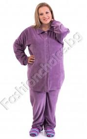 Мека и удобна макси пижама с якичка в три десена