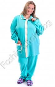 Памучна макси пижама в три цвята с якичка и джобче