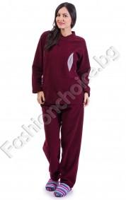 Плътна дамска пижама в четири цвята с листенце за акцент