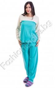 Комфортна дамска пижама в три десена с панделка за акцент