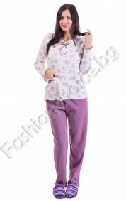 Памучна дамска пижама в три успокояващи десена на цветя