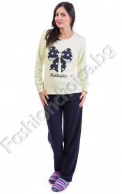 Памучна дамска пижама с щампа на панделка и надпис