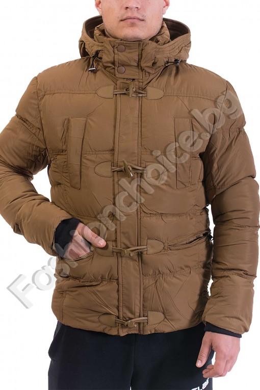 Мъжко яке с качулка и ефектни копчета от еко кожа за акцент