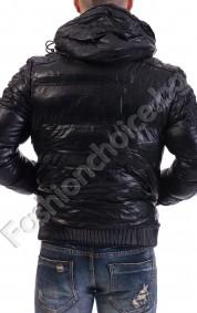 Мъжко кожено яке с качулка и двоен цип в черно