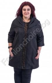Шикозно макси палто с разкошна яка украсено с нежни камъни