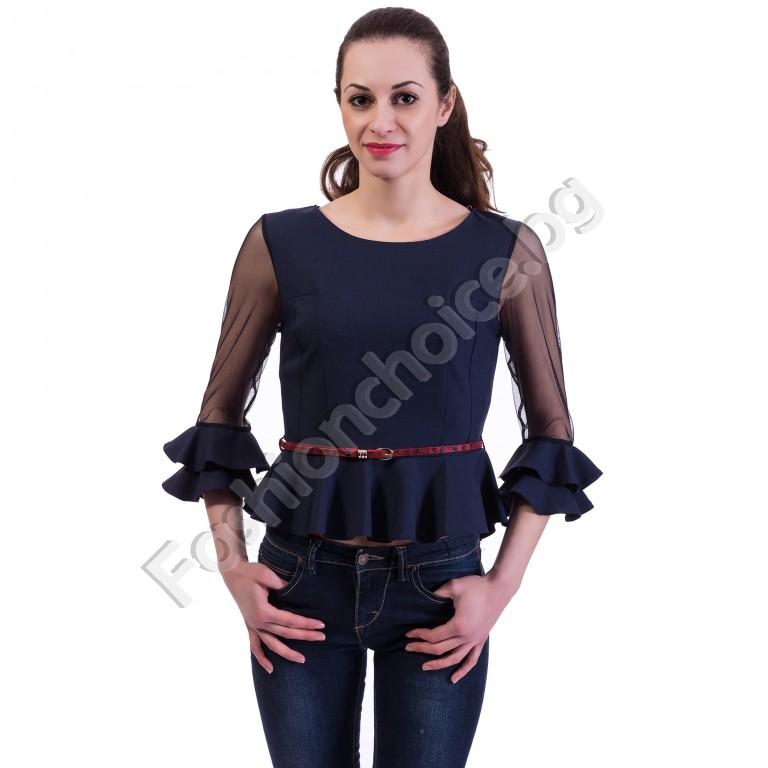 Кокетна дамска блузка с разкошни ръкави от тюл