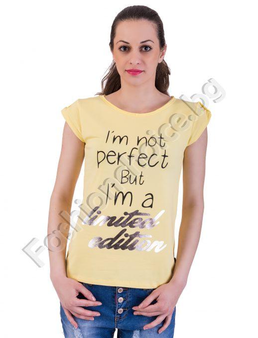 Памучна дамска блузка с надписи в осем цвятаПамучна дамска блузка с надписи в осем цвята