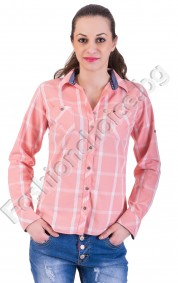 Дамска риза стрийт стил в три цветни десена на квадрадчета