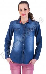 Дамска риза от деним с изтъркан ефект и джобчета