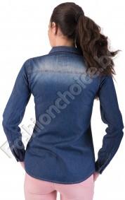 Памучна дамска риза от изчистен деним с изтъркан ефект