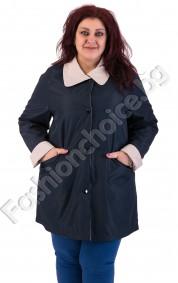 Двулицев макси шлифер с джобчета и маншет /от 3XL до 7XL/