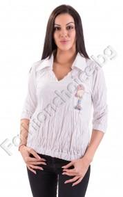 Памучна дамска риза в бяло с щампа на патенцето Туити
