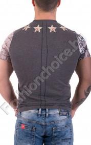 Памучна мъжка тениска с щампа на мечки и звезди