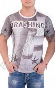 Памучна мъжка тениска с щампа на бутилка и звезди