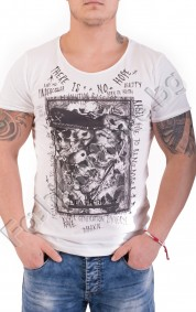 Мъжка тениска с ефектна щампа и надпис THERE IS NO HOPE