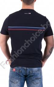 Мъжка тениски в тъмно синьо с щампа и хоризонтални ленти