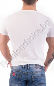 Бяла мъжка тениска с щампа LOS ANGELES 1996