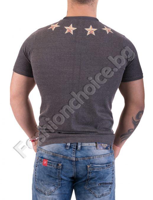 Мъжка тениска с остро деколте в сив десен със звезди