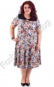 Стилна и елегантна макси рокля в десен на малки розички