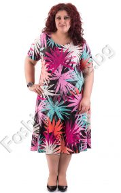 Лятна макси рокля с обло деколте в два пъстри десена на цветя