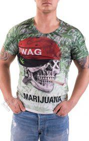 Мъжка тениска Marijuana с къс ръкав и щампа на череп