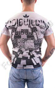 Мъжка тениска с обла яка Bodybuilding и оригинална щампа