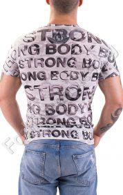 Мъжка тениска с оригинален принт и надписи Strong Body