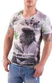 Мъжка тениска с къс ръкав и щампа Bob Marley