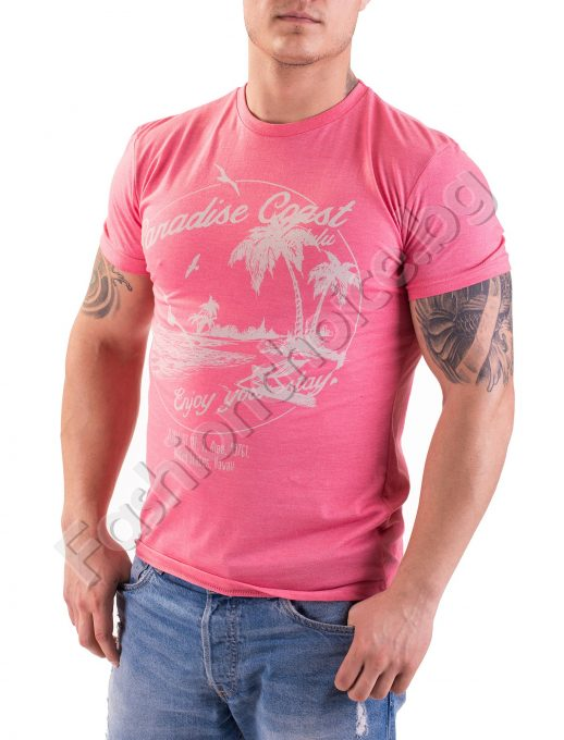 Мъжка тениска в розово с щампа и надпис Paradise Coast