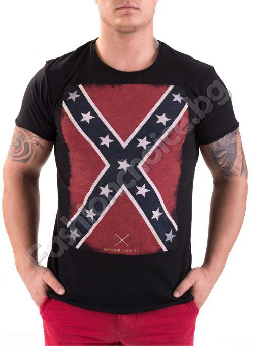 Гъзарска тениска за мъже в черно с щампа английско знаме
