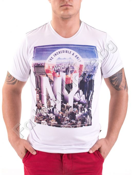 Мъжка тениска с къс ръкав и щампа NY в три цвята