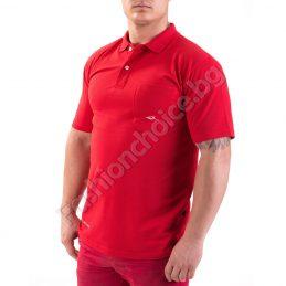 Модерна мъжка тениска с якичка от памук в два цвята