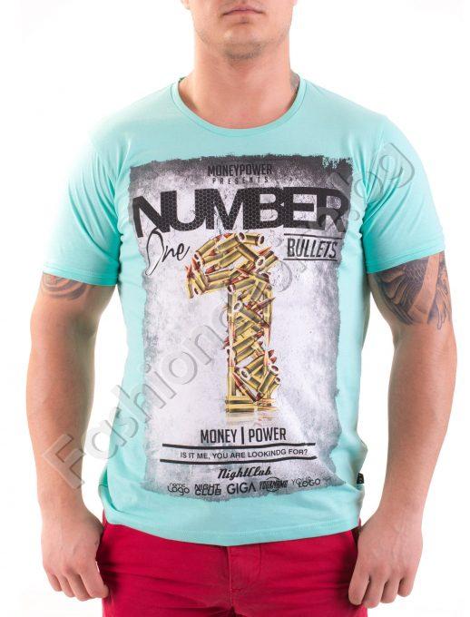 Памучна мъжка тениска с щампа Number One в три цвята