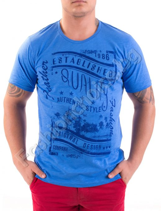 Памучна мъжка тениска с обла яка в шест цвята