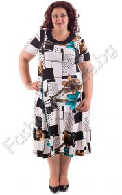 Удобна макси рокля в два десена с цветни орнаменти