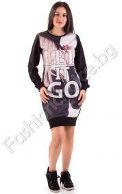 Спортна дамска рокля Led it Go с дълги ръкави