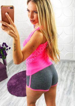 Комплект с потник и къси панталонки Мики в неонови цветове