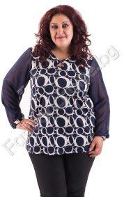 Кокетна макси блузка с дълги шифонени ръкави в два десена