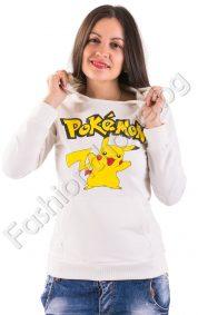 Дамски суичър с ефектна щампа Pokemon и качулка