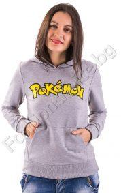 Дамски суичър с ефектна качулка Pokemon в 5 цвята