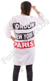 Нестандартна дамска риза NO в черно и бяло с регулиращ се ръкав