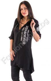 Дълга дамска риза в два цвята с издължена задна част и качулка