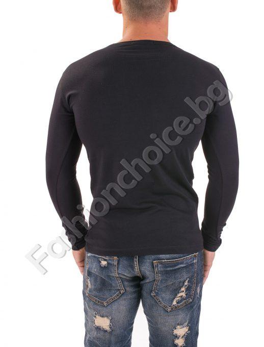 Мъжка блуза с дълъг ръкав в тъмно син и черен цвят