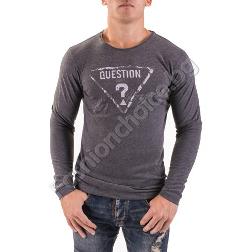 Мъжка блуза с дълъг ръкав и ефектен надпис QUESTION?Мъжка блуза с дълъг ръкав и ефектен надпис QUESTION?