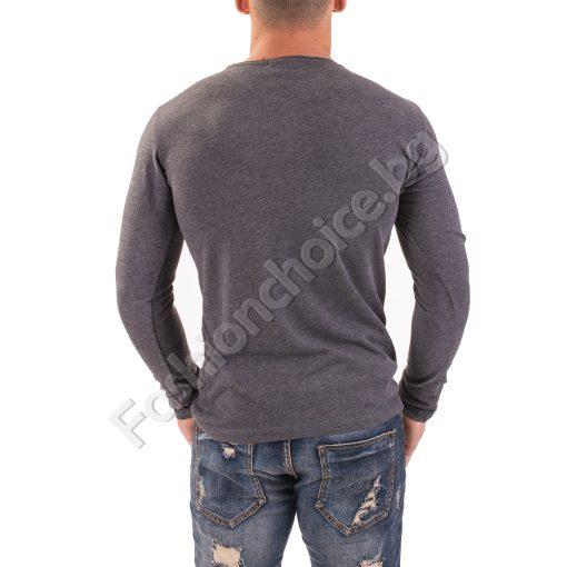 Мъжка блуза с дълъг ръкав и ефектен надпис QUESTION?