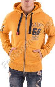 Ватиран мъжки суичър с качулка и цип в жълто