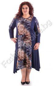 Плътна асиметрична макси рокля в два десена