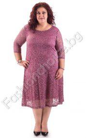 Дълга дантелена макси рокля за официални поводи